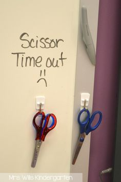 This is my favorite way of making sure the scissors don't grow legs! 3m clips are perfect for back to school classroom organizing.