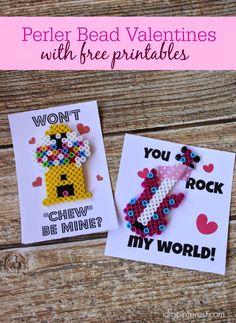 "Perler Bead Valentines with Free Printables.  ""Won't Chew Be Mine"" Bubblegum Machine Valentine and ""You Rock My World"" Guitar Valentine.  So fun!"