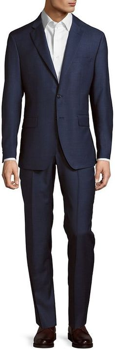 Saks Fifth Avenue Made in Italy Men's Modern Fit Solid Wool Suit