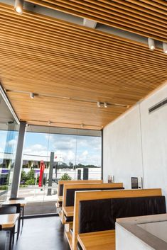 Looking to incorporate an acoustic timber ceiling in an exciting new McDonalds design Landini Associates reached out to Decor Systems for options. Timber Ceiling, Decorative Panels, Mcdonalds, Acoustic, Pergola, Outdoor Structures, Projects, Design, Log Projects