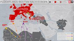 Flüchtlingsrouten nach Europa