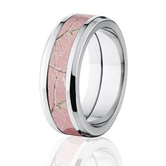RealTree Pink Camouflage Titanium Rings, Camo Bands, USA Made  Price : $149.22 http://www.thejewelrysource.net/RealTree-Camouflage-Titanium-Rings-Bands/dp/B00OZ98DJM