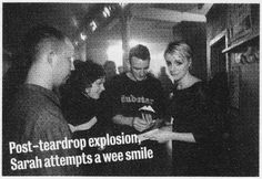 Sarah signs autographs in Newcastle Riverside after turning in an emotional acoustic performance to rescue a set plagued by technology-based catastrophes. / Dubstar