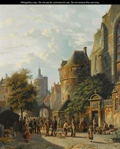 Many Figures On A Market In A Dutch Town - Adrianus Eversen