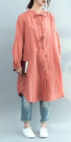 Casual Pink Cotton Linen Loose Shirt For Women – T-Shirts & Sweaters Linen Shirt Dress, Linen Dresses, Casual Shirts, Casual Outfits, Fashion Outfits, Kurta Designs, Blouse Designs, Moda Casual, Loose Shirts