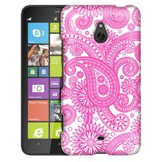 Nokia Lumia 1320 Paisleys Outline Pink on White Slim Case