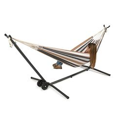 BELLEZZA-Double-Hammock-Space-Saving-Steel-Stand-with-Portable-Carrying-Case-Wheel-Kit-Desert-Moon-0-0