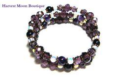 Purple Beaded Wrap Bracelet Purple Cuff Bracelet by AngiePinkal