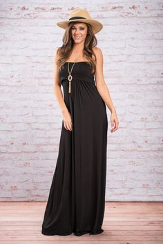Forever Tube Maxi Dress, Black || This maxi is so comfy it feels like your PJs, but with way more style! The super soft material is a solid color to match with so many accessories, and we love the fold over bodice, which allows you to control the length a little.
