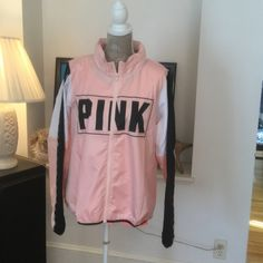 BNWOT FULL ZIP ANORAK BNWOT-on-line packaging lightweight mock neck anorak ultra lightweight 100% polyester full zip light pink with PINK logo graphic and color locked sleeves in white and black side pockets NO TRADES NO OTHER APPS will price drop PINK Victoria's Secret Jackets & Coats