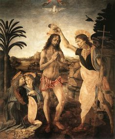 The Baptism of Christ: Verrocchio and Leonardo Painted by Andrea del Verrocchio, with the angel on the left-hand side by Leonardo. It is generally considered that Leonardo also painted much of the background landscape and the torso of Christ. One of Leonardo's earliest extant works. Vasari's statement that the angel on the left is by Leonardo is confirmed by studies by Bode, Seidlitz and Guthman, and accepted by McCurdy, Wasserman and others.