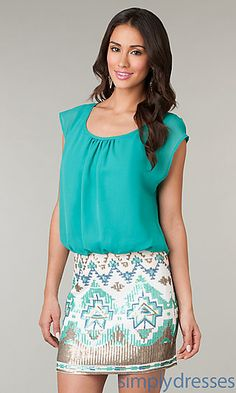 Short Casual Dress with Print Skirt at SimplyDresses.com