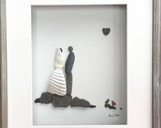 Pebble Art Wedding Couple Bride and Groom Art Modern Wall Art Abstract Contemporary Signed.