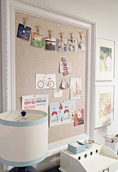 Another cork board example for wall...again make it much larger with same trim as the chalk wall.