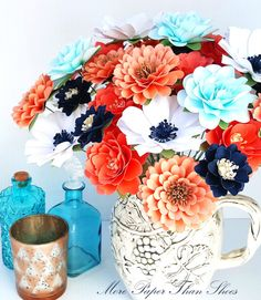 Paper Flowers - Nautical Theme - Navy and Coral - Bridal Bouquet - Garden Party- Wedding Shower - Wedding Decor - Garden Party- Table Decor - Designed By Anna Fearer Bridal Bouquet Coral, Ivory Wedding Flowers, Navy Flowers, Fabric Flowers, Paper Flower Centerpieces, Paper Flower Backdrop, Flower Arrangements, Garden Party Wedding, Wedding Decor