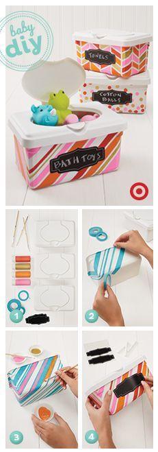 Assim dá pra transformar as caixas de lenço umedecido em porta-trecos. #DIY #comofazer