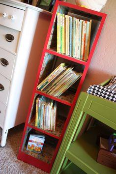 Comics Modge Podged inside the bookshelf