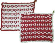 """Hearty"" Potholders - http://www.handarbetsshopen.se/patterns-in-english/hearty-potholders.aspx"
