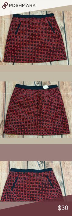 """Tommy Hilfiger Logo Skirt Womens Size 8 Red Navy Tommy Hilfiger Skirt Womens Size 8 Red and Navy Logo Letters NEW Details:  2 Faux Front Pockets Condition: Brand New with Tag  Measurements: Waist:  30"""" Length:  18"""" Tommy Hilfiger Skirts A-Line or Full"""