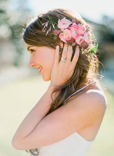 Love the beautiful pink flowers in this bride's hair! From http://ruffledblog.com/galleries/modern-renaissance-wedding-inspiration/?pid=100317=2  Photo Credit: http://taylorlordphotography.com/ Styling by http://lindseyzamora.com/  Florals by http://stemfloral.com/