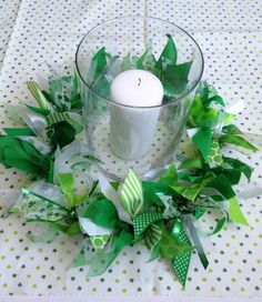 St. Patrick Day Decoration Candle Ring or Wreath by primsandproper, $27.00