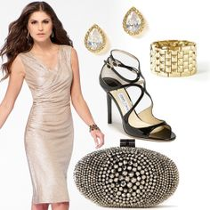 Dress, earrings, bracelet, and clutch by Caché. Shoes by Jimmy Choo. #HeadToToeThursday