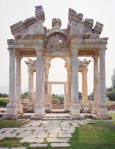 Tetrapylon gate in the ancient ruined city of Aphrodisias, Turkey
