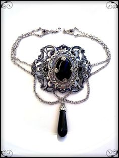 Victorian Gothic Black Jeweled Choker Necklace by ApplebiteJewelry
