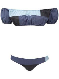 1c5c41ddb1 Lisa Marie Fernandez Leandra Denim Patchwork Bikini - Farfetch
