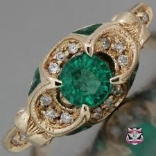 Image result for vintage emerald engagement rings