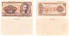 Viet Nam pair of 2 specimen proof UNIFACE banknotes 50 dong 1951 very rare