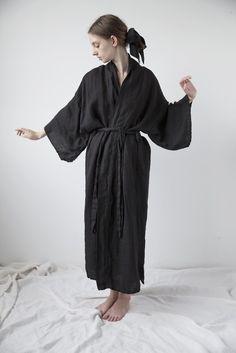 Linen Kimono - Black   Ovate