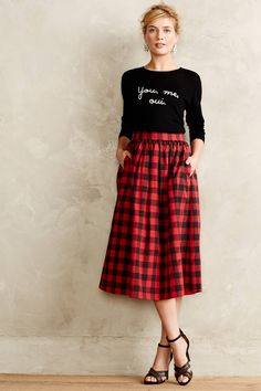 Buffalo Plaid Midi Skirt - anthropologie.com