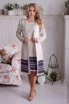 """Купить Платье """"Туманная даль"""" - серый, в полоску, вязаное платье, Костюм вязаный, костюм женский"""