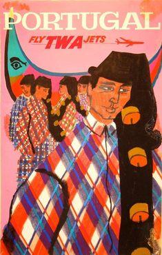 Portugal, TWA, Vintage Poster - Trans World Airlines Vintage Travel Posters, Vintage Airline, Original Travel, Portugal Travel, Art File, Vintage Advertisements, Vintage Images, Great Artists, Illustrations Posters
