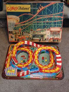 1950s Coney Island Wind Up Roller Coaster Tin Toy w/ Box Technofix Germany
