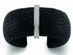 Black Rayskin Cuff (Medium) #unusual #contemporary #modern #London  #designer #jewellery #handmade #NudeJewellery
