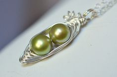 Two peas in a pod peapod necklace  green freshwater pearls - also available in different numbers of peas :)