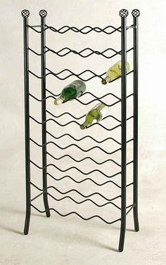 Large 36 Bottle Free Standing Wine Rack Sturdy Wrought Iron Storage Black New #gracecollections