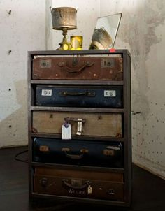 ah! Refacing with suitcase fronts! This is my next dresser. For sure.- OMG... I soo want to do this! EEEKK!!!!!