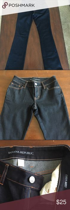 Banana Republic jeans Banana Republic Jeans. Slim boot cut. Dark Navy. 30 inches in length. New condition without tag. The true color of the jeans are best depicted in the first picture. Banana Republic Jeans Boot Cut