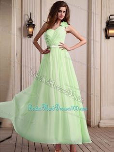 Yellow Green One Shoulder Maid of Honor Dress with Flower