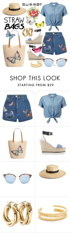 """""""Carry On: Straw Bags"""" by hastypudding ❤ liked on Polyvore featuring Valentino, Miss Selfridge, Style & Co., Linda Farrow, Lack of Color, Madewell, strawbags and fashionset"""