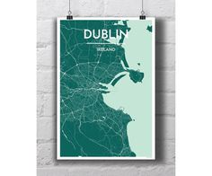 Dublin Ireland  City Map Print by PointTwoMaps on Etsy