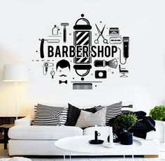 Vinyl Wall Decal Barbershop Hair Salon Stylist Barber Stickers (ig4296)