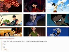 Oh my gosh. Everyone of them...except for Adventure Time one. But really, Danny Phantom, Mako, Zuko, Jim Hawkins, Robin, Jack Frost, Peter Pan...I still have crushes on them.