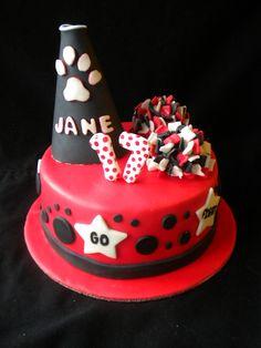 Cheer cake Cheerleading Birthday Cakes, Cheer Birthday Party, 16 Birthday Cake, Cheer Party, Cheerleader Party, 12th Birthday, Birthday Ideas, Girly Cakes, Cute Cakes