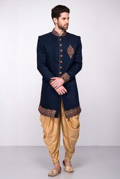 Wedding Dress Indo Western, Rent AARAMBH Navy Blue Embroidered Sherwani With Peshawari Salwar at Flyrobe Mens Indian Wear, Indian Groom Wear, Indian Men Fashion, Mens Fashion Suits, Groom Fashion, Men's Fashion, Sherwani Groom, Mens Sherwani, Wedding Sherwani