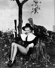 Marilyn Monroe Dressed as a Pilgrim for Thanksgiving - Photograph High Q... Premium Art Print