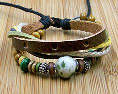 Leather bracelet  wristband for men women Cuff Leather bracelet porcelain and wooden Bead adjustable length for gift. $6.99, via Etsy.